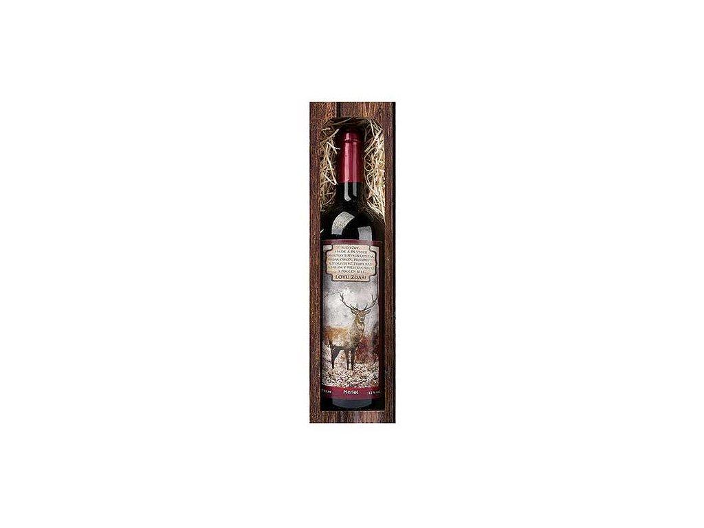 Bohemia Gifts Dárkové červené víno 0,75 l pro myslivce - lovu zdar