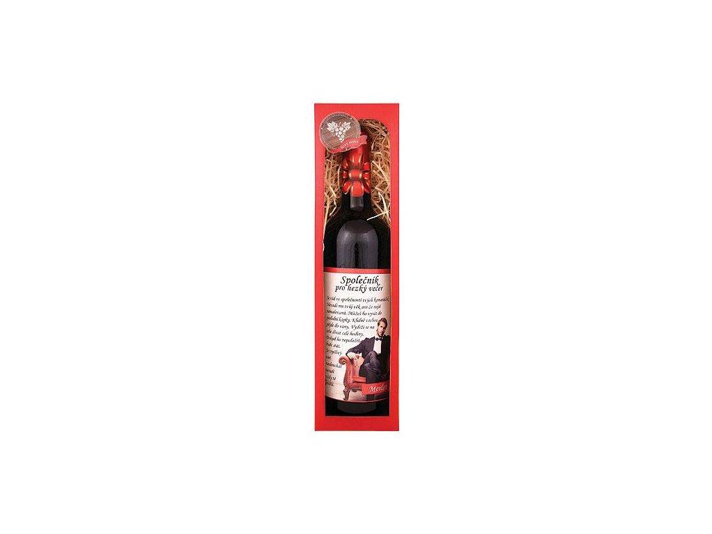 Bohemia Gifts Dárkové červené víno 0,75 l Merlot - Společník pro večer
