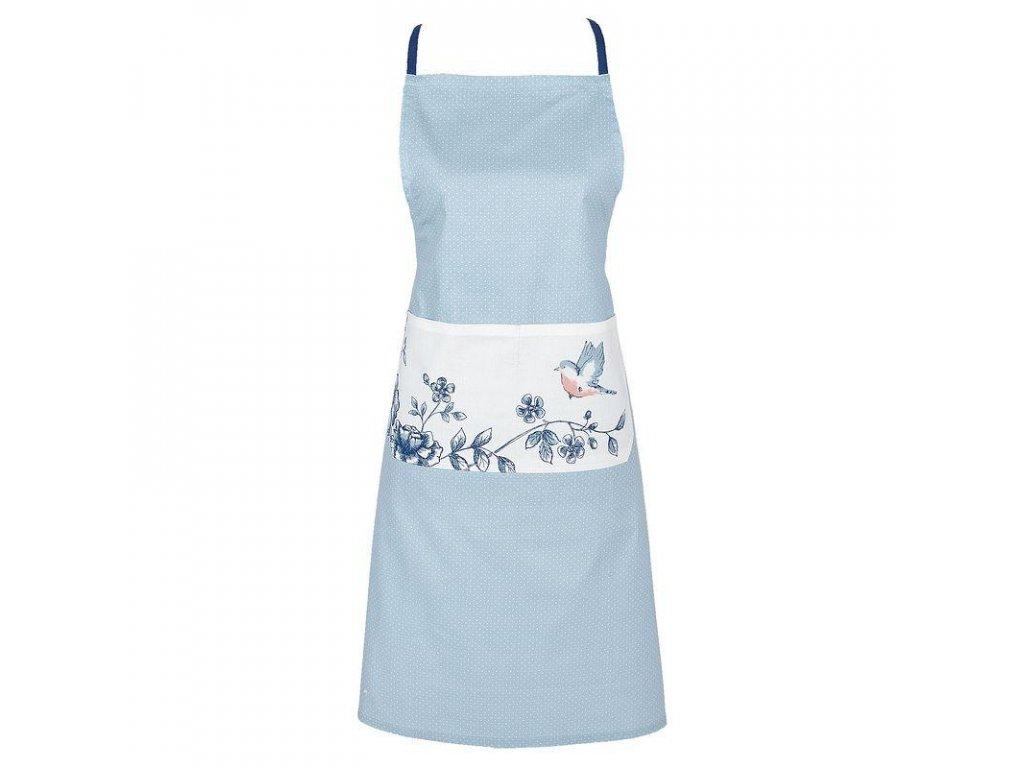 Kuchyňská zástěra  s modrými květy a ptáčkem
