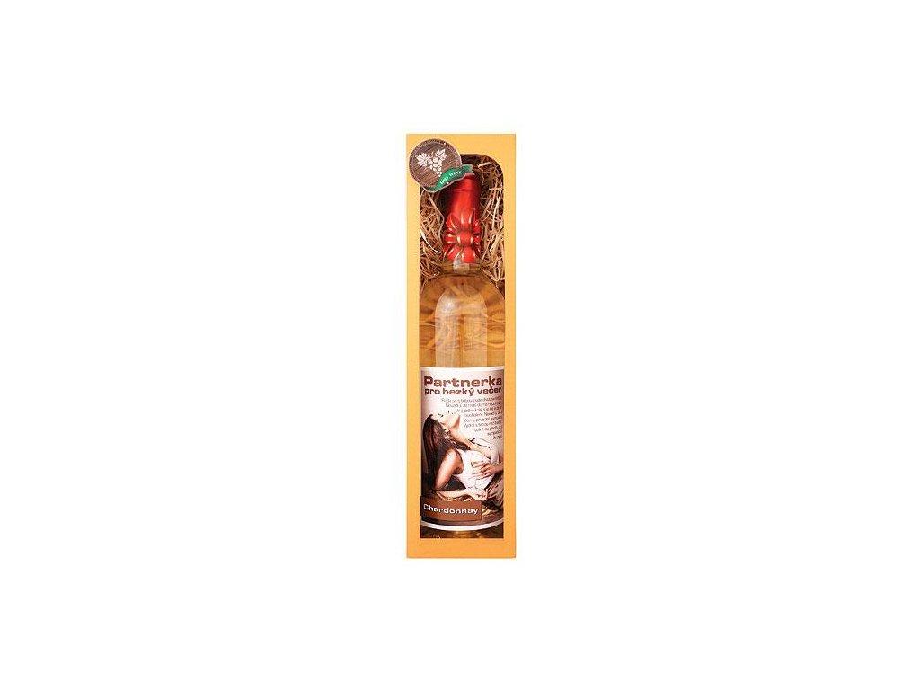 Bohemia Gifts Dárkové bílé víno 0,75 l Chardonnay - Partnerka pro večer