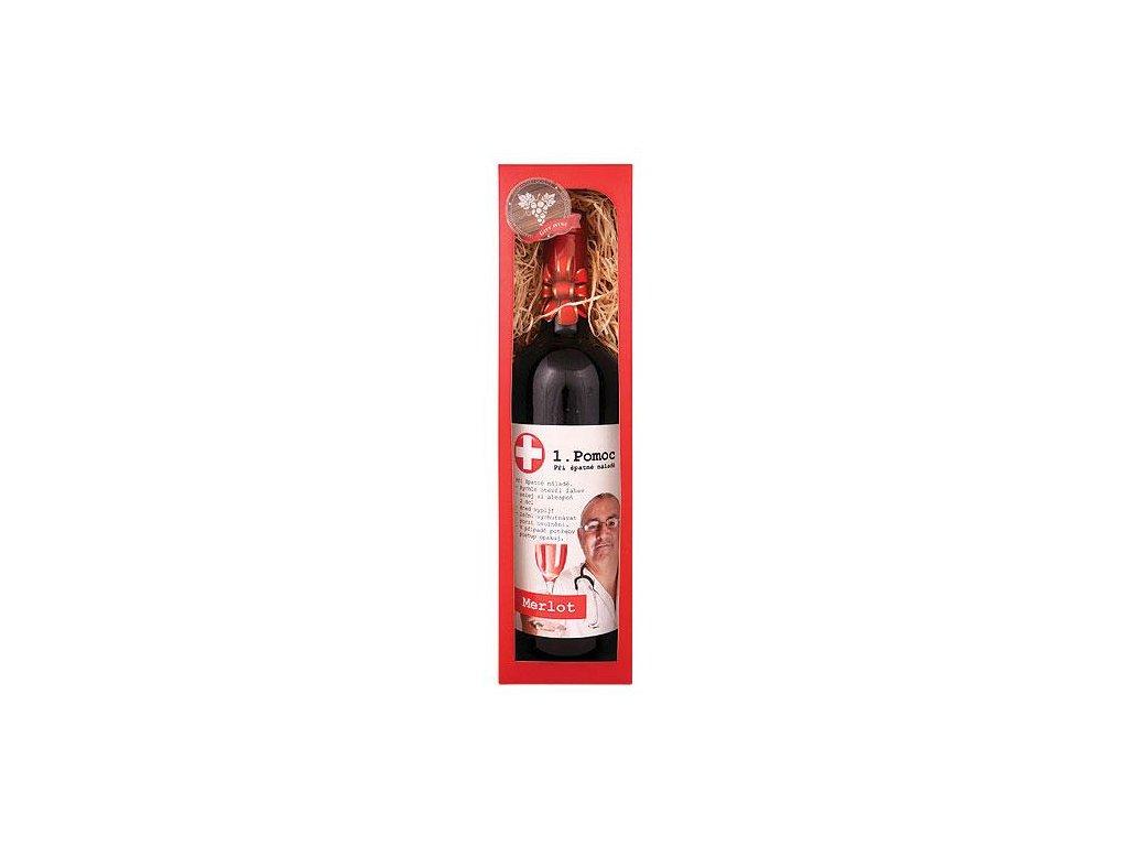 Bohemia Gifts Dárkové červené víno 0,75 l Merlot - První pomoc