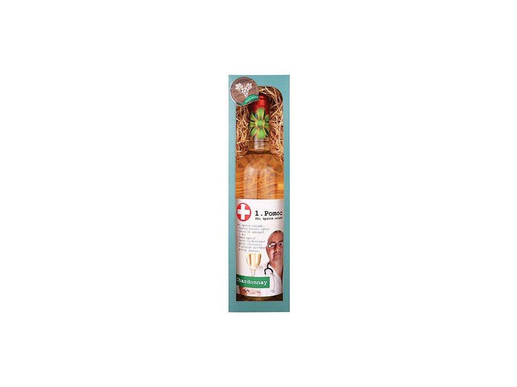 Bohemia Gifts Dárkové bílé víno 0,75 l Chardonnay - První pomoc