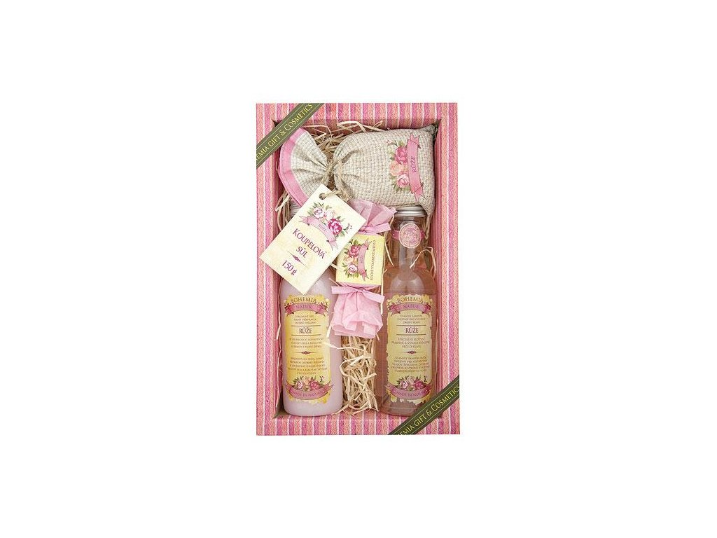 Bohemia Natur Sada kosmetiky růže premium pro učitelku  – gel 200ml, šampon 200ml, mýdlo 30g a sůl 150g