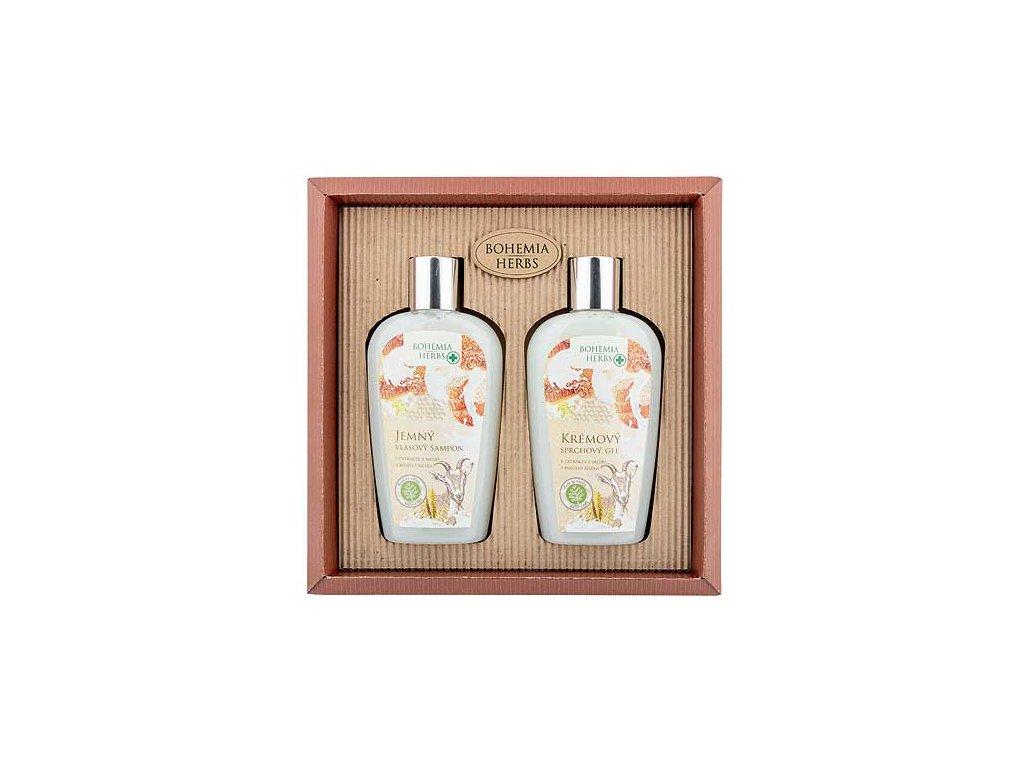 Bohemia Herbs Kosmetická sada - gel 250ml a šampon 250ml – kozí mléko