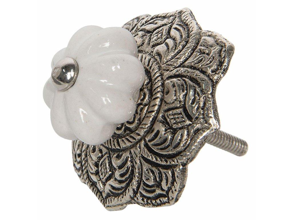 """Clayre & Eef - Nábytková úchytka ,,hliník-keramika"""" - Ø 5 cm"""