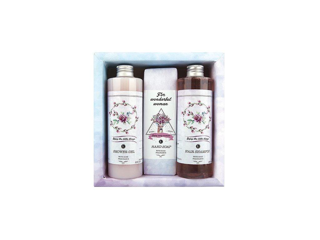 Bohemia Gifts Boho Style sada  gel 250ml, mýdlo 145g a šampon 250ml – růže
