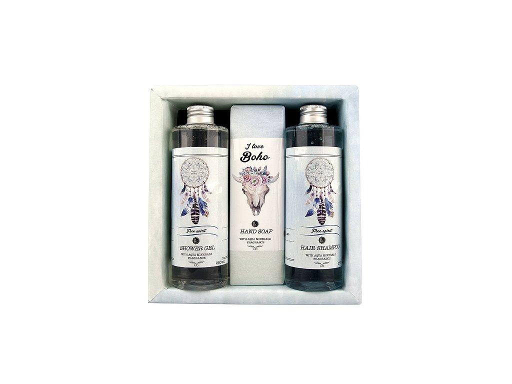 Bohemia Gifts Boho Style sada gel 250ml, mýdlo 145g a šampon 250ml - aqua