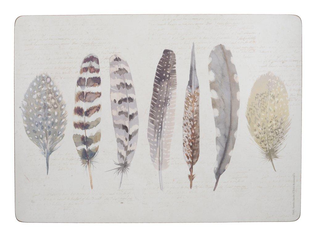 Creative Tops - Korkové prostírání Feathers malé /29*21 cm/ - 6 ks v balení
