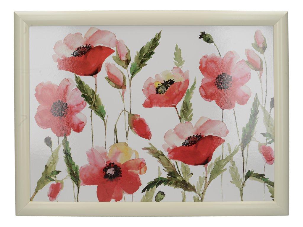 Creative Tops - Servírovací tác s polštářem Watercolour Poppies /44*33 cm/