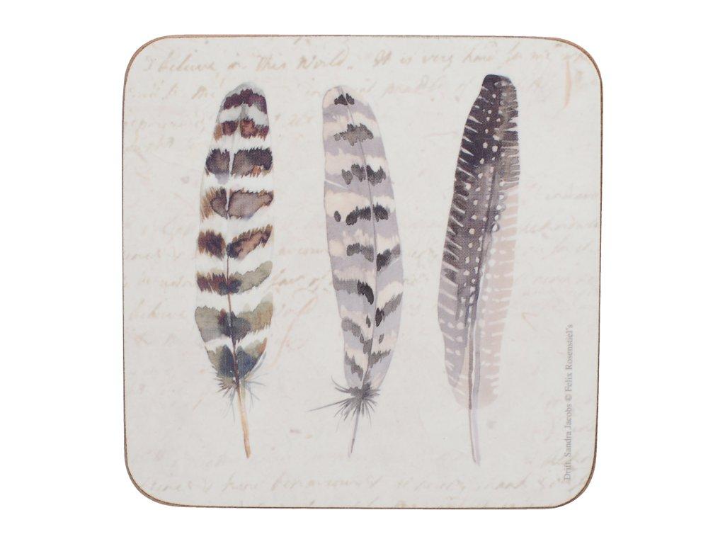 Korkové podložky pod skleničky Feathers