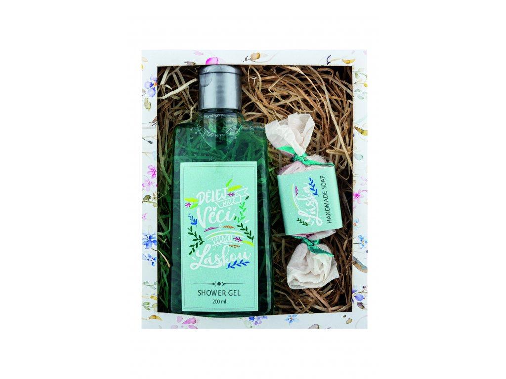 Bohemia Gifts Kosmetická sada Dělej věci s láskou – gel 200 ml a mýdlo 30 g