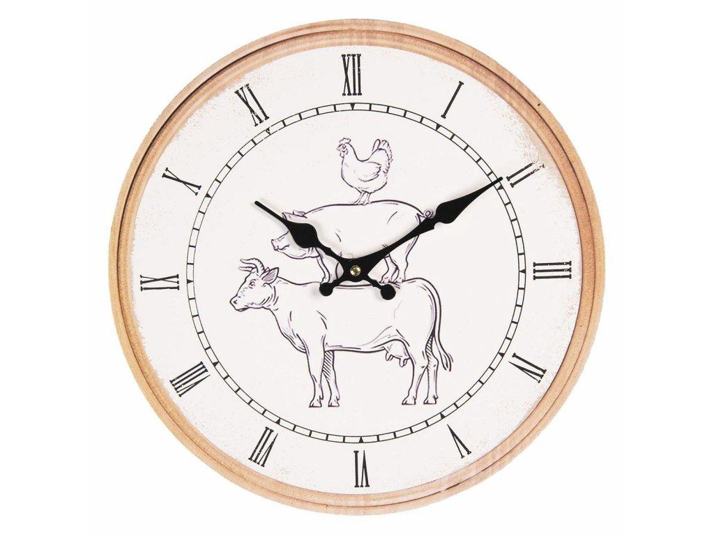 Clayre & Eef - Nástěnné farmářské hodiny - Ø 34*4 cm / 1*AA
