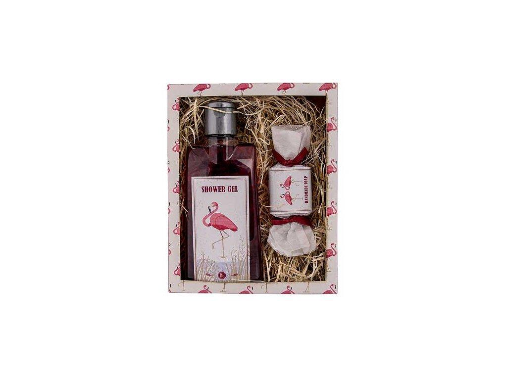 Bohemia Gifts Kosmetická sada sprchový gel a mýdlo 30 g - Flamingo