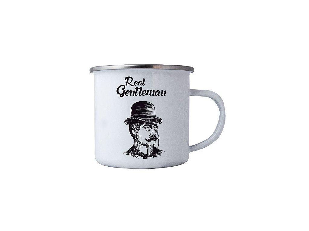 Bohemia Gifts Plechový smaltový hrnek 350 ml pro muže - real gentleman