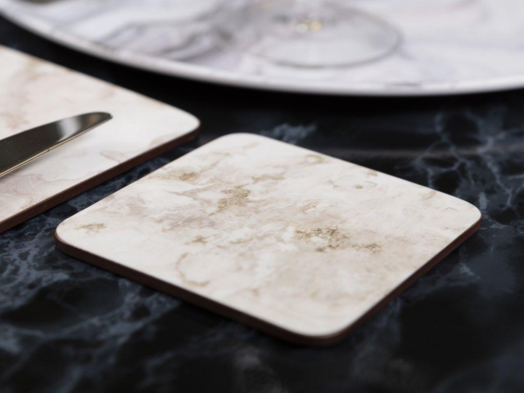 Creative Tops - Korkové podložky pod skleničky Grey Marble /10,5*10,5 cm/ - 6 ks v sadě