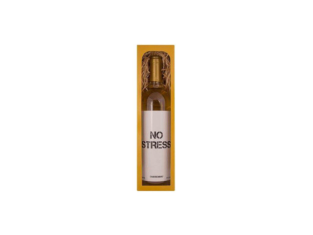 Bohemia Gifts Dárkové bílé víno 0,75 l Chardonnay – No Stress