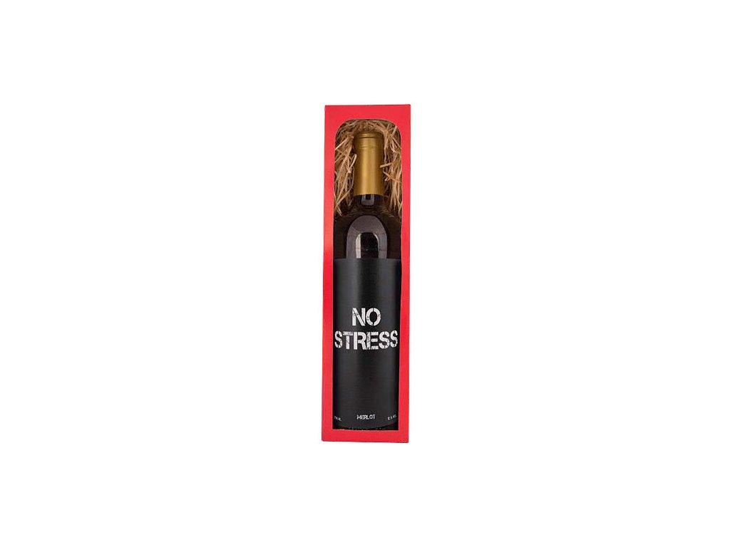 Bohemia Gifts Dárkové červené víno 0,75 l Merlot – No Stress