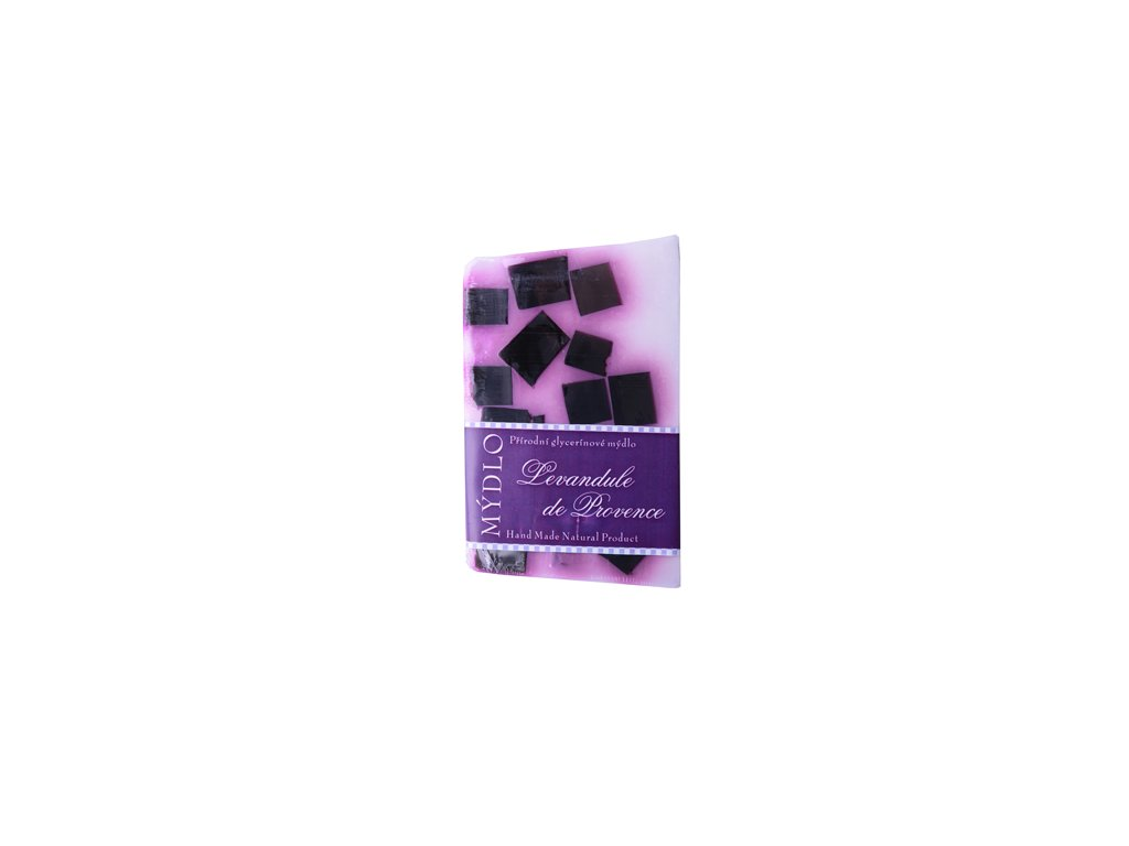 Mýdlo - de provence levandule bílá  s fialovou kostkou-100g