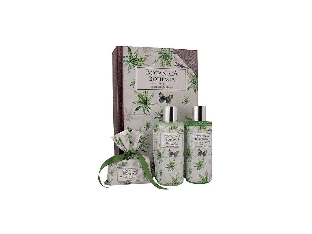 Bohemia Gifts Botanica sada gel 200ml, šampon 200ml a mýdlo 100g - konopí