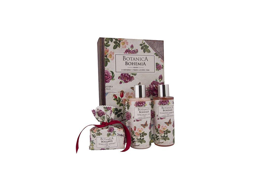 Bohemia Gifts Botanica sada gel 200ml, šampon 200ml a mýdlo 100g – růže