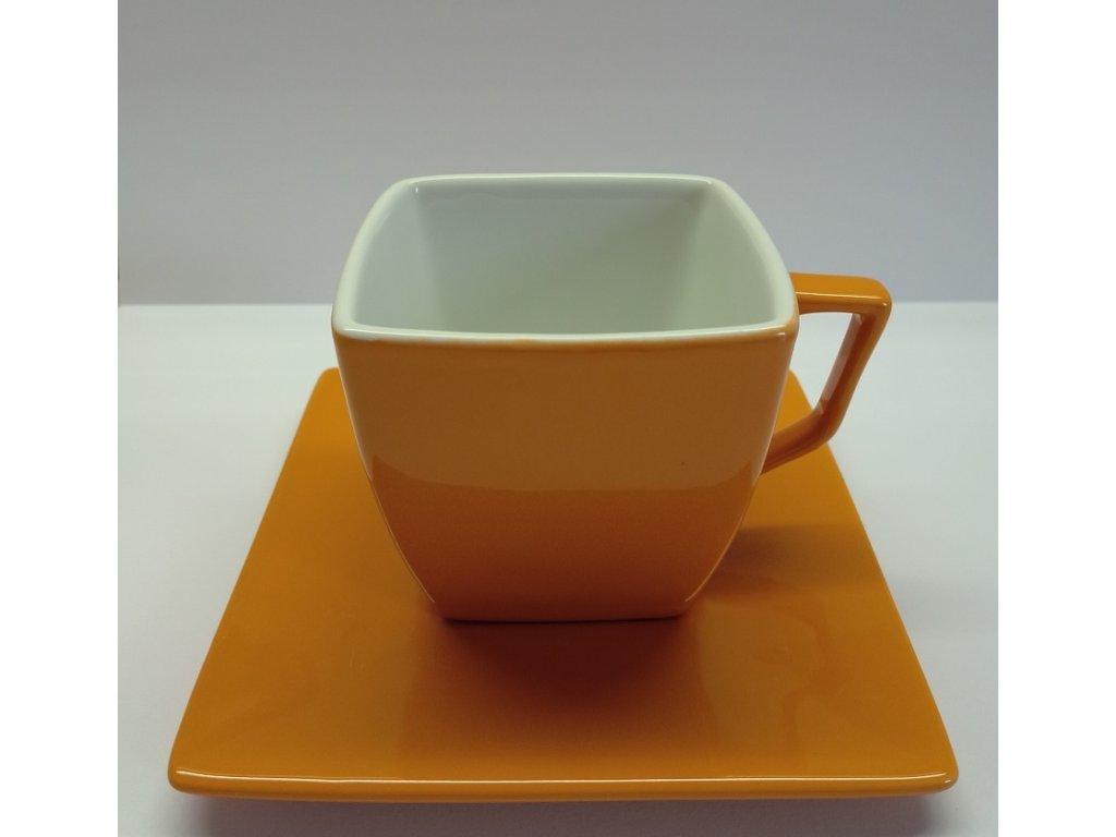 Keramický hrnek s podšálkem /barva oranžová/  I - 150 ml