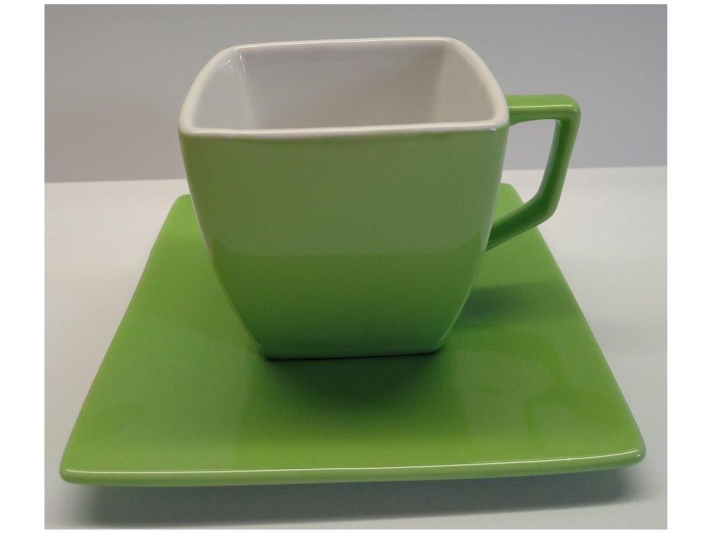 Keramický hrnek s podšálkem /barva zelená/ I - 150 ml