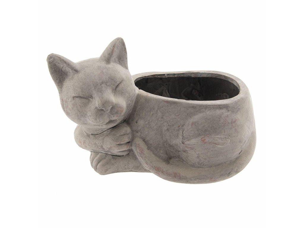 """Clayre & Eef - Terakotový květináč """"Spící kočka""""  - 26*15*16 cm"""