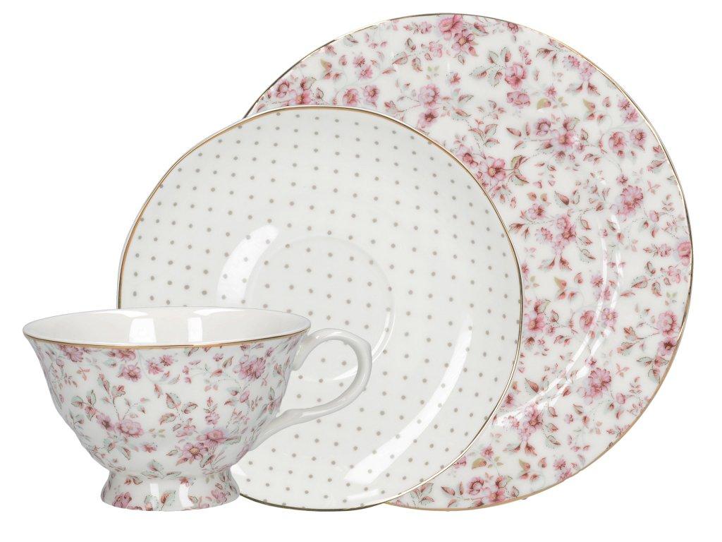 Creative Tops - Porcelánový šálek s podšálkem a dezertní talíř White Floral - 200 ml