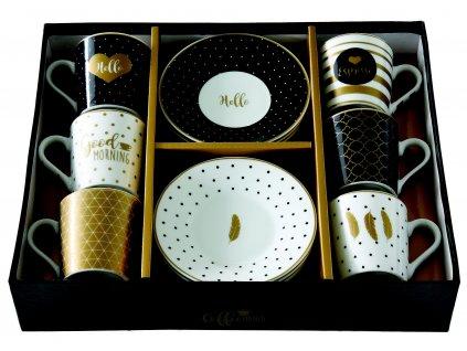 Easy Life - Porcelánové šálky a podšálky na kávu Good Morning - 6*100 ml