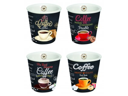 Easy Life - Porcelánové pohárky na kávu It´s Coffee Time - 4*80 ml