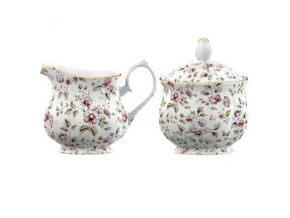 Porcelánová mléčenka a cukřenka White Floral