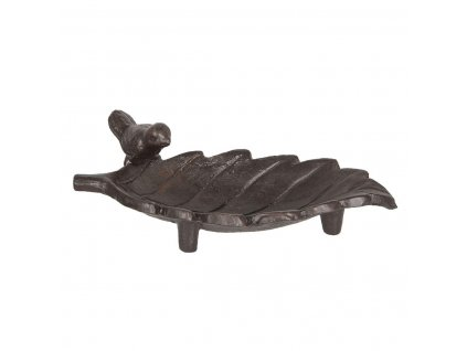 Clayre & Eef - Ptačí pítko list s ptáčkem - 19*9*8 cm