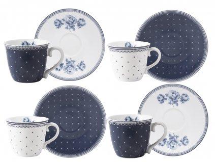 Creative Tops - Porcelánové hrnky na espresso Vintage Indigo /17,5*17*11 cm/