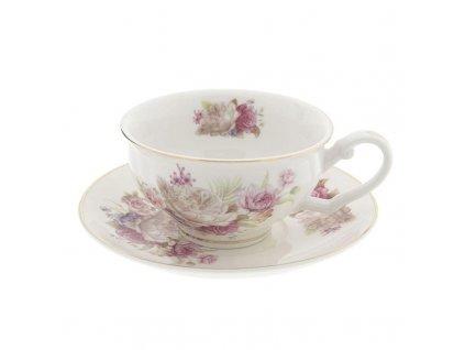 Clayre & Eef - Elegantní porcelánový šálek s podšálkem - Ø 13*2 / 12*9*5 cm