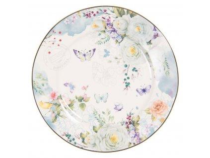 Clayre & Eef - Dezertní talíř BUTTERFLIES - Ø 19*2 cm