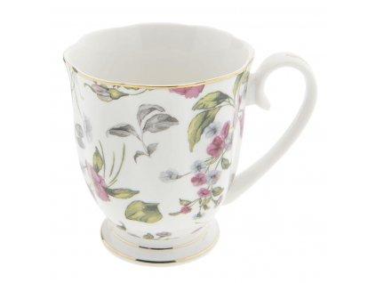 Clayre & Eef - Porcelánový hrníček s lístky a drobnými kvítky - 11*8*9 cm