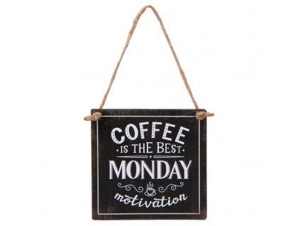 Clayre & Eef - Plechová cedulka COFFEE MONDAY - 10*10 cm