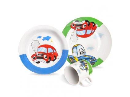 Dětská jídelní souprava -  3díl. AUTO, děts.jídel. porcelán