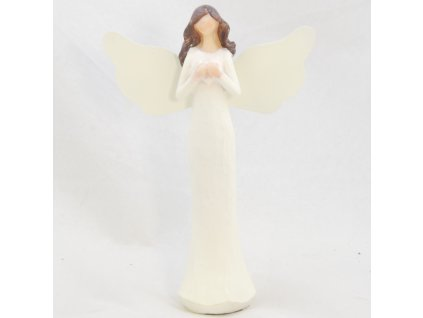 Figurka anděla v krémových šatech se srdíčkem /14,5*10 cm/