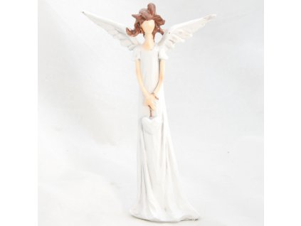 Figurka anděla v bílých šatech se srdíčkem /17,5*10,5 cm/