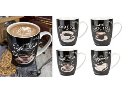 Hrnky na kávové nápoje - 380ml NAPOLI 4dekory kávy, new bone