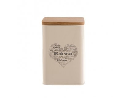 Plechová dóza na kávu - plech/dřevo KÁVA-SRDCE, 9,5x 9,5x14cm