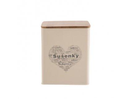 Plechová dóza na sušenky - plech/dřevo SUŠENKY-SRDCE,14x14x16,5cm