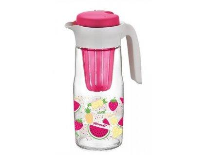 Skleněný džbán s vnitřní vložkou na ovoce v růžové barvě - 1,35 l