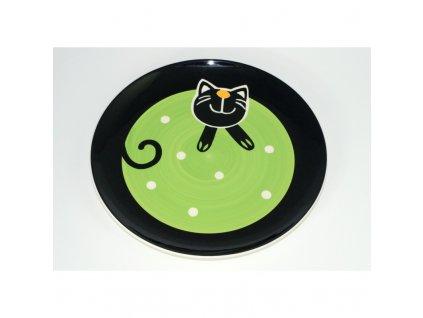 Zelený strom - Talíř Veselá kočka, 27 cm, Barva Zelená