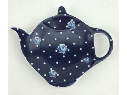 Podčajník ve stylu Vintage MODRÉ RŮŽIČKY a bílé tečky na modré