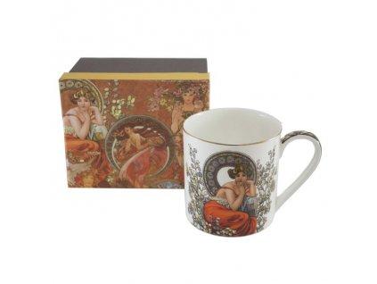 Velký porcelánový hrnek Alfons Mucha v dárkové krabičce - 600 ml