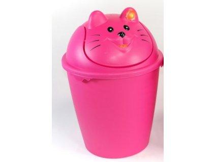 """Dětský odpadkový koš """"KOČKA"""" v růžové barvě d26,8,v.40cm - 8 l"""