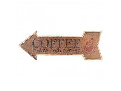 Clayre & Eef - Plechová cedule COFFEE ve tvaru šipky- 46*15 cm