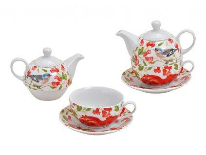 G.WURM - Porcelánová čajová souprava pro jednoho FLOWERS s ptáčkem - konvička 400 ml, šálek 200 ml